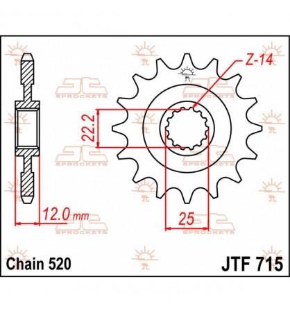 PIÑON DE REEMPLAZO DELANTERO JTF715.13 / 13 DIENTES /   NATURAL / ACERO