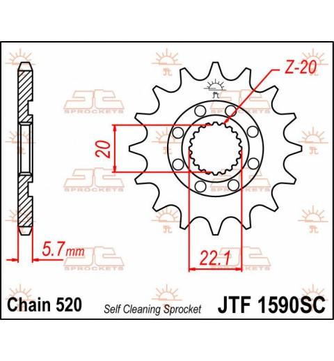 PIÑON TRANSMISION  JTF1901.13SC  / 520 PITCH / NATURAL / STEEL