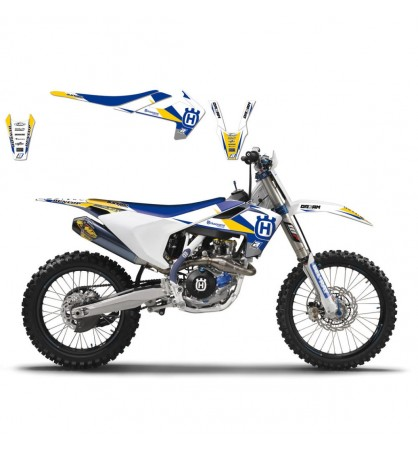 KIT GRÁFICO  DREAM 3  HUSQVARNA BLANCO / AZUL / AMARILLO